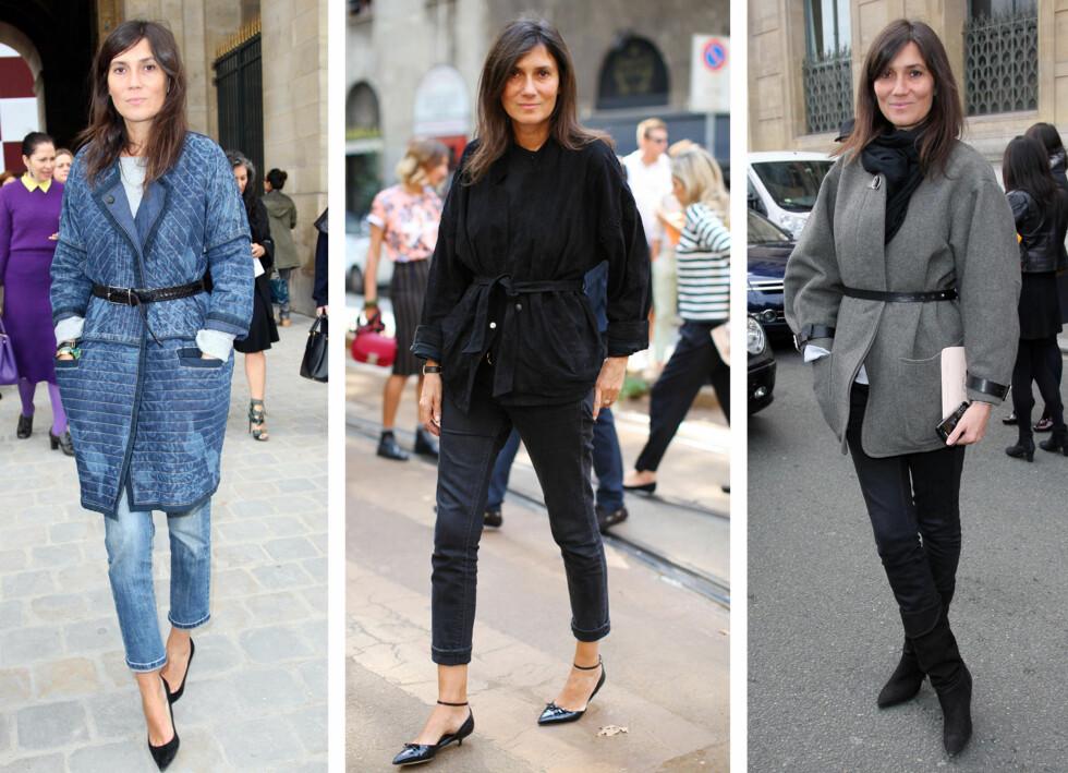 EMMANUELLE ALT: Den franske Vogue-redaktøren tyr stadig til dette stylingtrikset. Foto: All Over Press