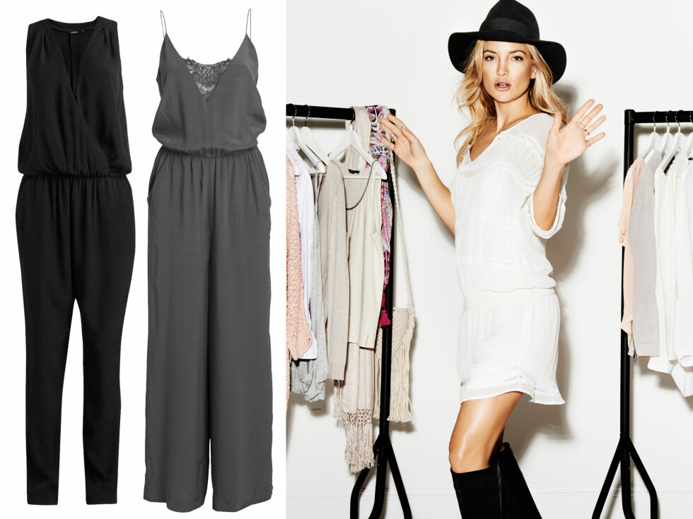 KATES FAVORITTER: Sort jumpsuit (kr 300), grå jumpsuit (kr 400) og hvit kjole (kr 500). Foto: Lindex
