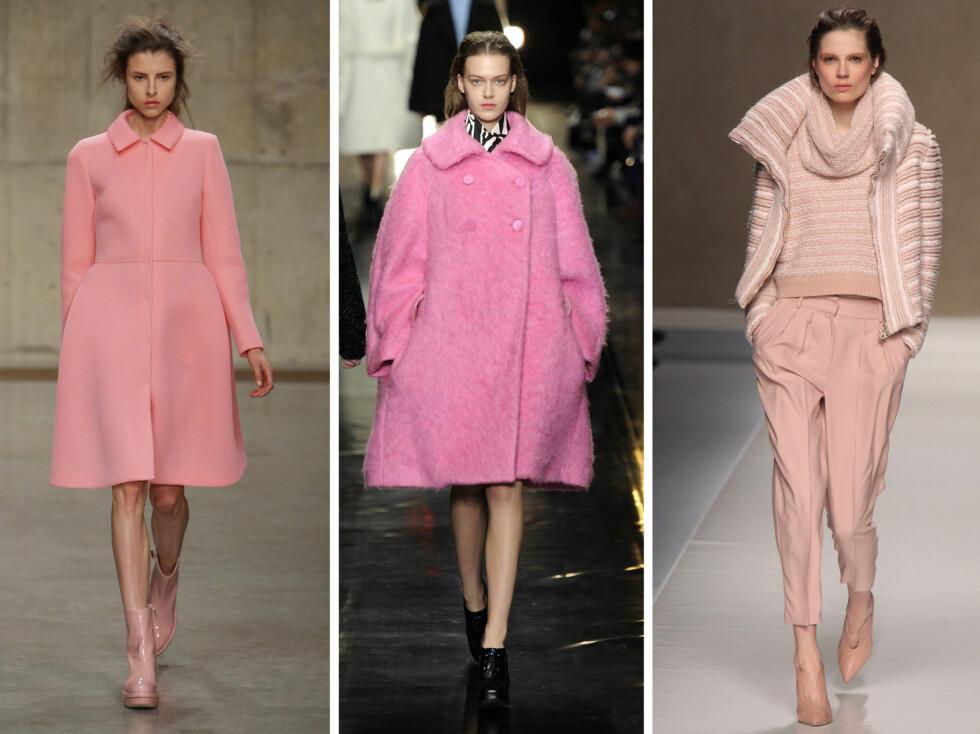 ROSA KÅPER PÅ CATWALKEN: Fra venstre ser vi Simone Rocha, Carven og Blumarine sine rosa jakker fra høsten 2013. Foto: All Over Press