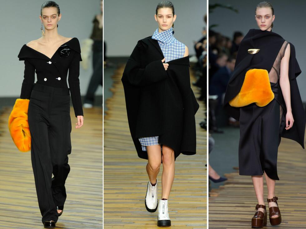 HOT SKULDER TIL HØSTEN: Den franske designeren Céline er en av flere som fokuserer på en sexy liten skulder i sine høstkolleksjoner. Foto: All Over Press