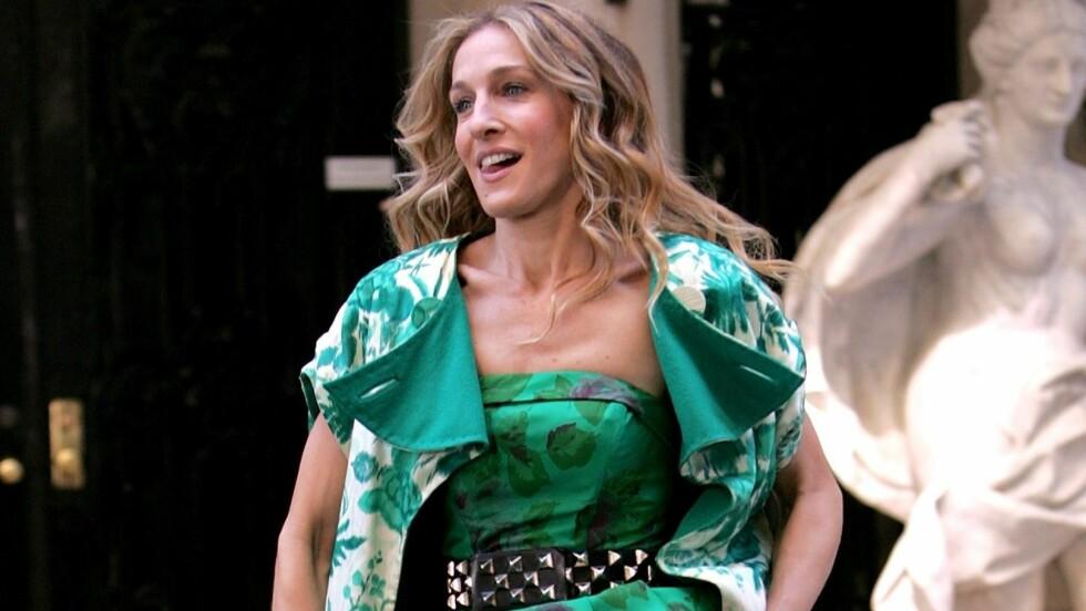 VISER FREM HJEMMET: Sex- og singellivstjerne Sarah Jessica Parker viser frem hjemmet sitt for Vogue. Her i en scene fra suksess-serien.