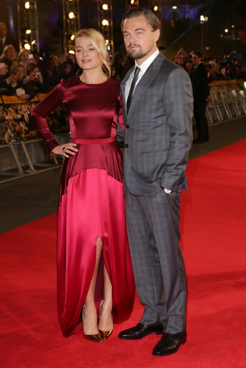 Margot Robbie og Leonardo DiCapriopå Wolf of Wall Street-premiere. Foto: REX/Richard Young/All Over Press
