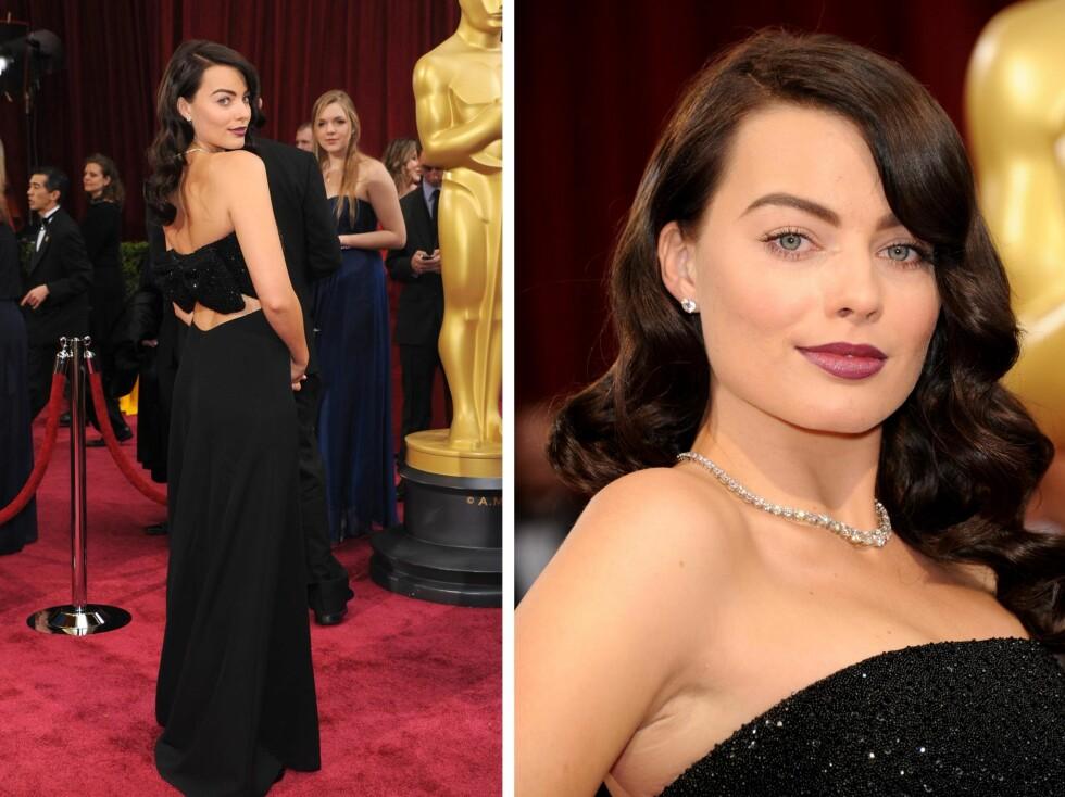 NESTEN GOTISK: Superstjernen så nesten litt gotisk ut på den røde løperen under Oscar.  Foto: All Over Press