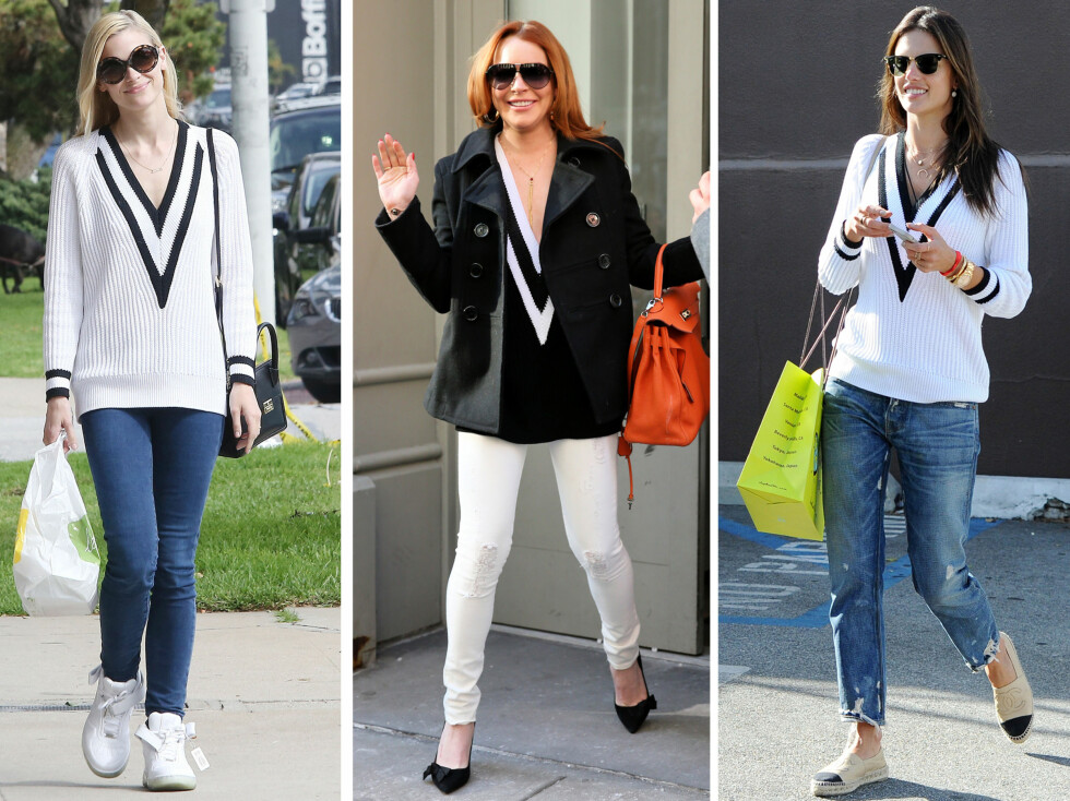 <strong>RAG AND BONE:</strong> Jamie King, Lindsey Lohan og Alessandra Ambrosio er blant kjendisene som har skaffet seg genseren fra Rag and Bone. Foto: All Over Press