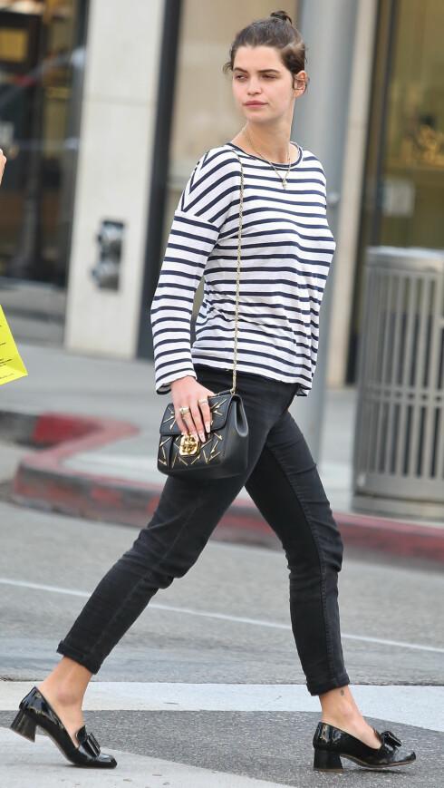 <strong>TIL JEANS:</strong> Den britiske it-jenta Pixie Geldof, bruker gjerne de lave hælene til et par ankelkorte bukser. Foto: Splash News/ All Over Press