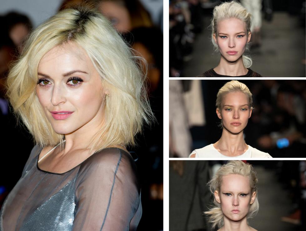 ISBLONDT: Den britiske tv-stjernen Fearne Cotton har farget håret i trendy isblonde toner, og det samme gjelder disse modellene fra Rag & Bone, pluss  Altuzarras visninger under New York Fashion Week tidligere denne måneden.  Foto: All Over Press