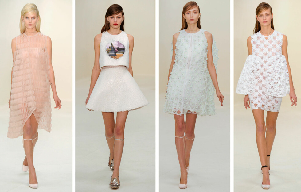 <strong>DIOR:</strong> Motehusets haute couture-kolleksjon for våren 2014 var preget av feminine antrekk med en moderne vri. Foto: All Over Press