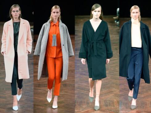VERONICAS FAVORITTER: Designeren er spesielt fornøyd med yttertøyet i kolleksjonen, og den rosa kåpen er den absolutte favoritten. Foto: Copenhagen Fashion Week