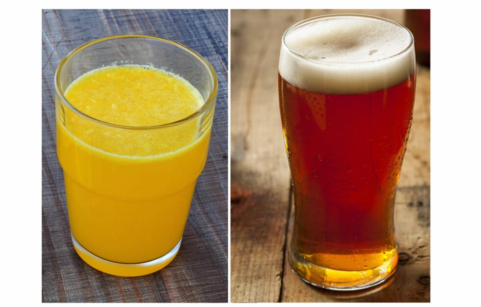 GJETT DA VEL: Hva er mest kaloririkt? Øl eller appelsinjuice? Foto: Fotolia
