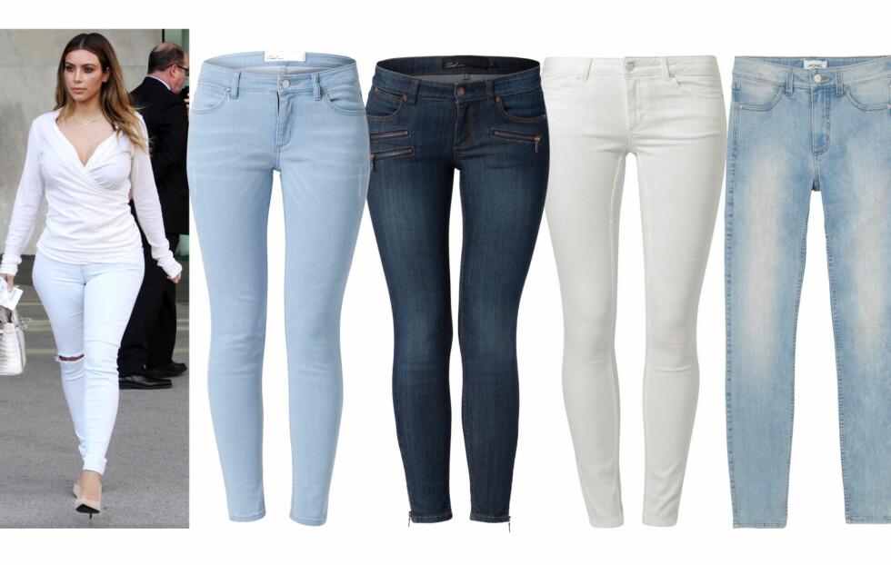 FLOTT MODELL FOR DEG MED LITT FASONG: Kim  Kardashian går for ankellange jeans til pumps og matchende topp. Lyse (kr 500) og med glidelåser og flere lommer (kr 600, begge fra MQ), offwhite (kr 550, Kiomi/zalando.no) og lyse (kr 400, Monki). Foto: All Over Press/Produsenter