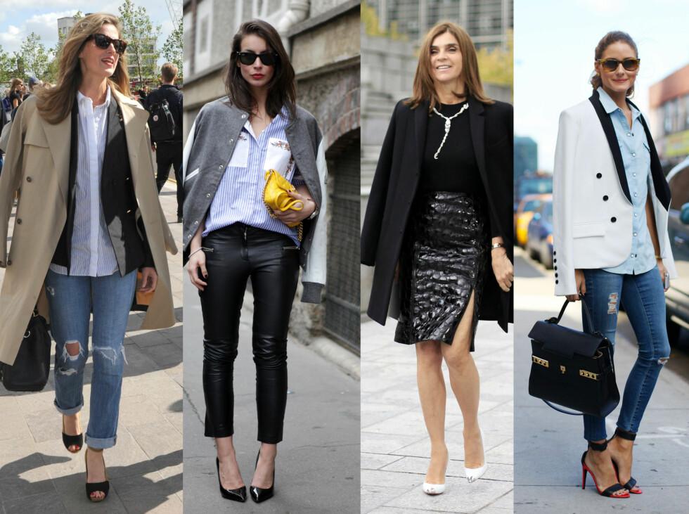 JAKKETREND: La deg inspirere av disse stilsikre damene, og oppdater looken ved å la kåpen eller jakken henge over skulderne. Foto: All Over Press