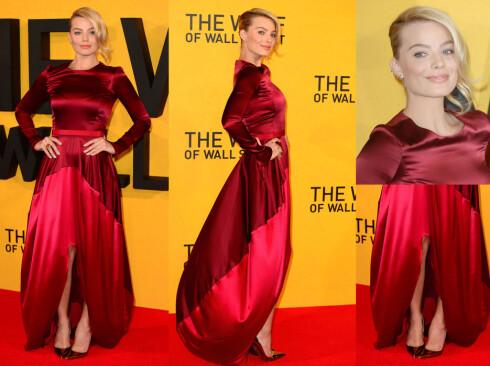 <strong>MARGOT ROBBIE:</strong> Den australske skjønnheten hadde valgt en rød silkekjole med lange ermer og splitt. Foto: All Over Press