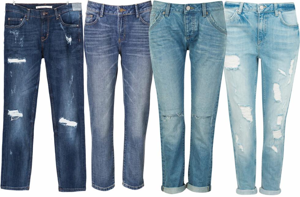 HULL OG OPPBRETT ER VALGFRITT: Fra venstre i mørk vask (kr 400, Zara), med høyt liv (kr 1500, Bmb), med hull på knærne (kr 600, Relaxed) og lyse og slitte (kr 500, Cubus). Foto: Produsenter