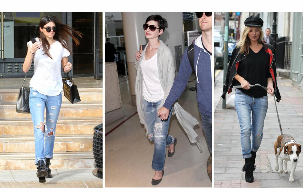 JEANS MED RETTE BEIN ER FLATTERENDE FOR DE FLESTE: Ute etter en buksemodell som sitter pent? Da kan du gjøre som Kendall Jenner, Anne Hathaway og Kate Moss og hoppe inn i vårens rette trendbukse Foto: All Over Press
