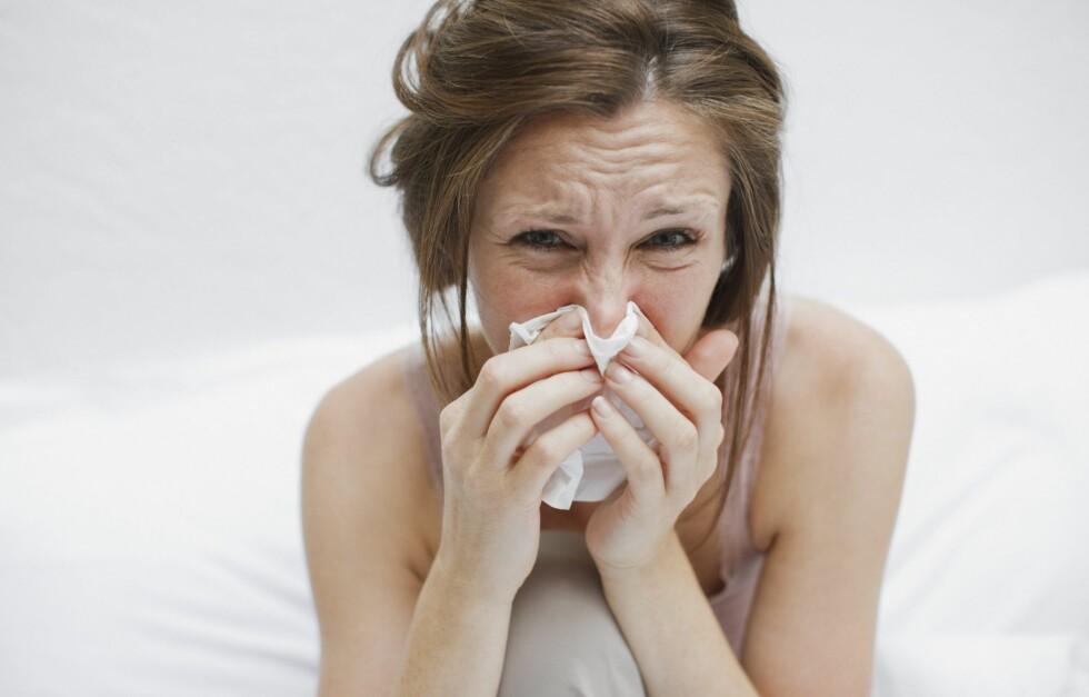 SÅR NESE: All snytingen i forkjølelsessesongen gjør huden rundt nesa ekstra sårbar. Sjekk hvordan du kan pleie dette i denne saken! Foto: All Over Press