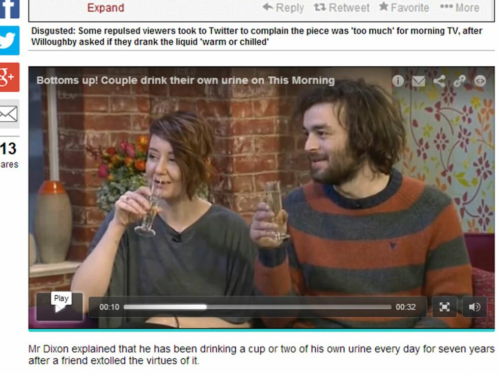 DRIKKER URIN: Bex Long og John Dixon drakk sitt eget urin på ITVs morgenshow «This Morning» denne uken.   Foto: Faksimile Daily Mail/ITV