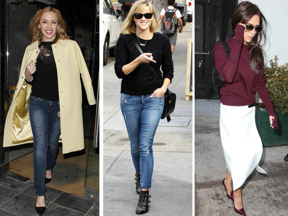 PERFEKT TIL SKJØRT OG JEANS: Gjør som Kylie Minogue og Reese Witherspoon, og gå for en vintageinspirert genser til slitte blå jeans, eller kombiner burgunder og hvitt, som Victoria Beckham. Foto: All Over Press