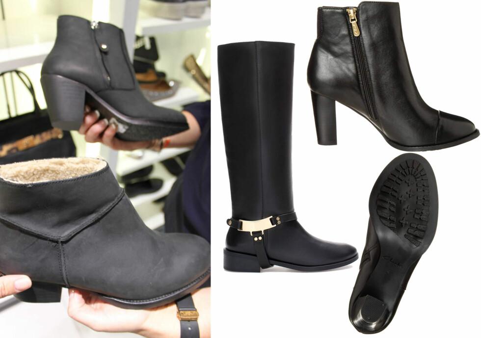 MED FÔR OG SKLISIKKER SÅLE: Disse bootsene tar deg trygt til og fra festen - til venstre i matt skinn med fôr (kr 1300, Aldo), høye skinnstøvler med fornuftig høyde på hælen (kr 1395, Zara) og superlekre skoletter med god såle (kr 1195, Clarks). Foto: KK.no/Produsentene