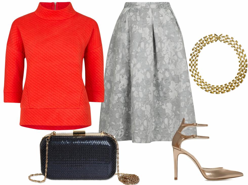 HALVPOLOTOPP: Oransje genser med medium høy hals (kr 400), voluminøst skjørt (kr 400, begge fra Vivikes), gyllent halskjede (kr 180), blå kneppeveske (kr 400, begge fra MQ) og gullpumps med ankelrem (kr 700, Zara).  Foto: Produsenter