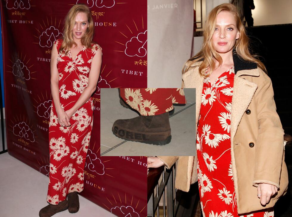 UMA THURMAN: Skuespillerinnen kom i rød kjole og vintersko fra Sorel. Foto: All Over Press