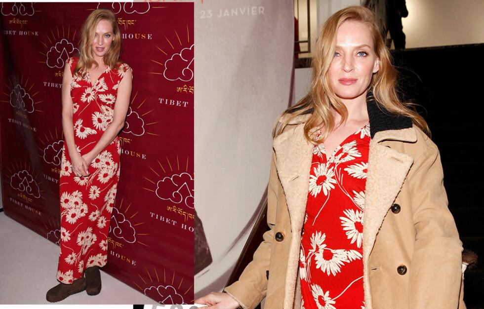 UMA THURMAN: Skuespillerinnen kom i vinterboots fra Sorel på veldedighetsgalla. Foto: All Over Press