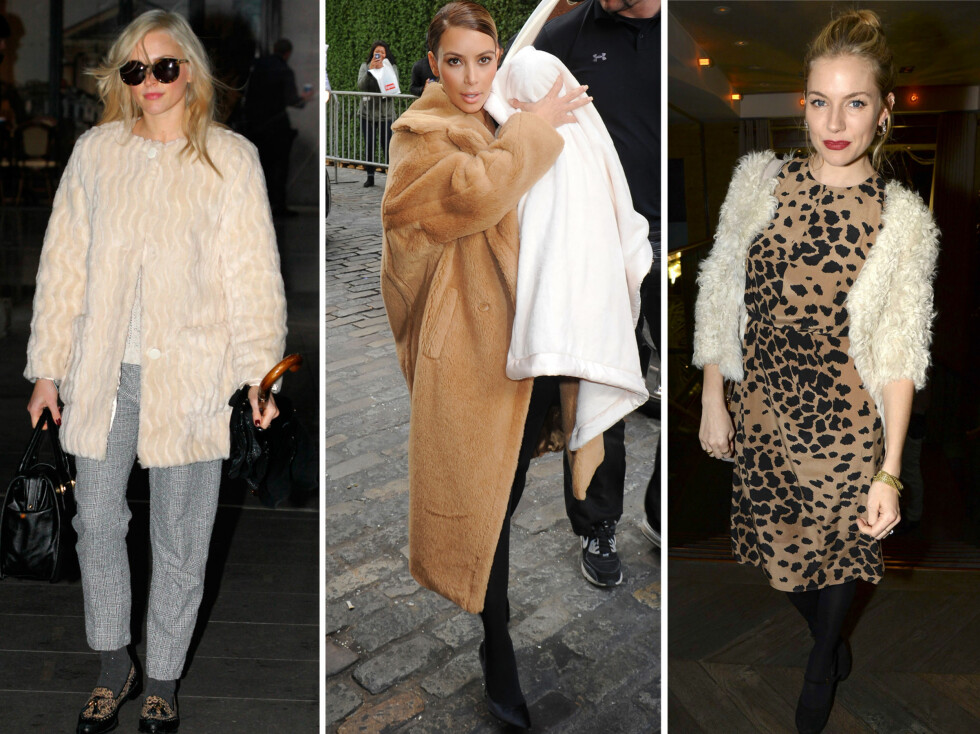 I HVITE OG BRUNE TEDDYJAKKER: Fra venstre Fearne Cotton, Kim Kardashian og Sienna Miller. Foto: All Over Press