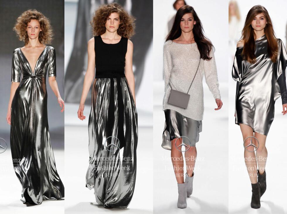 <strong>METALLISK:</strong> De to antrekkene til venstre er fra Minx by Eva Lutz og de to til høyre er fra Riani. Foto: Mecedes-Benz Fashion Week Berlin