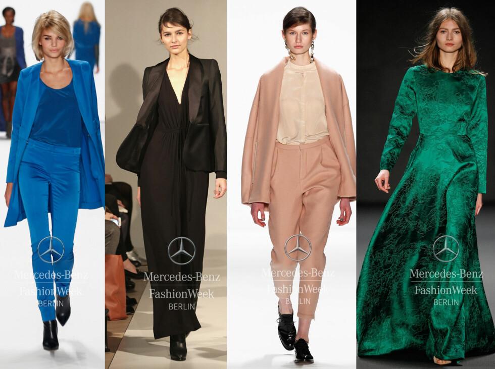 <strong>FARGER:</strong> Fra venstre: Riani, Filippa K, Malaikariss og Alena Akhamadullina. Foto: Mecedes-Benz Fashion Week Berlin