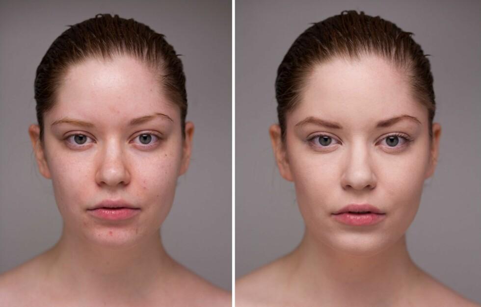 UTEN SMINKE OG «UTEN SMINKE»: På bildet til venstre er modellen Sierra McKenzie helt uten sminke. På bildet til høyre har hun litt sminke, men akkurat lite nok til å forestille et usminket ansikt. Foto: Mark Laubenheimer