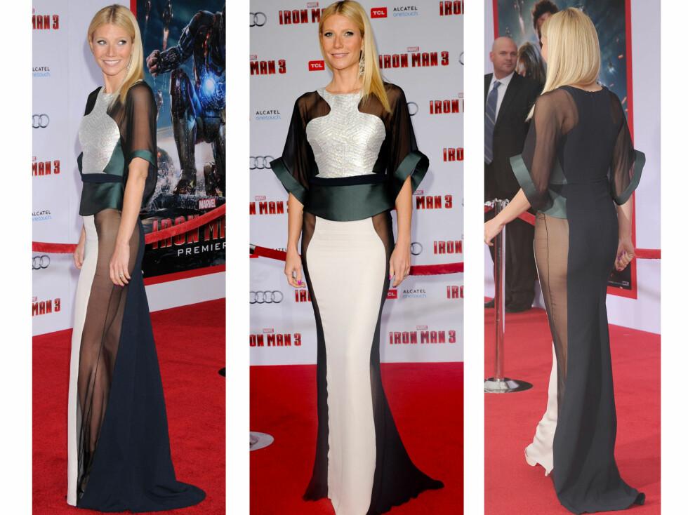 I ANTONIO BERARDI-KJOLE: Gwyneth Paltrow er kjent for sine heftige kjoler - her på filmpremieren til Iron Man 3 i februar. Foto: All Over Press