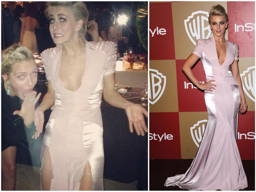 FØR OG ETTER: Slik så kjolen til Julianne Hough ut senere på kvelden. Kjolen tålte tydeligvis ikke dansebevegelsene hennes. Foto: All Over Press