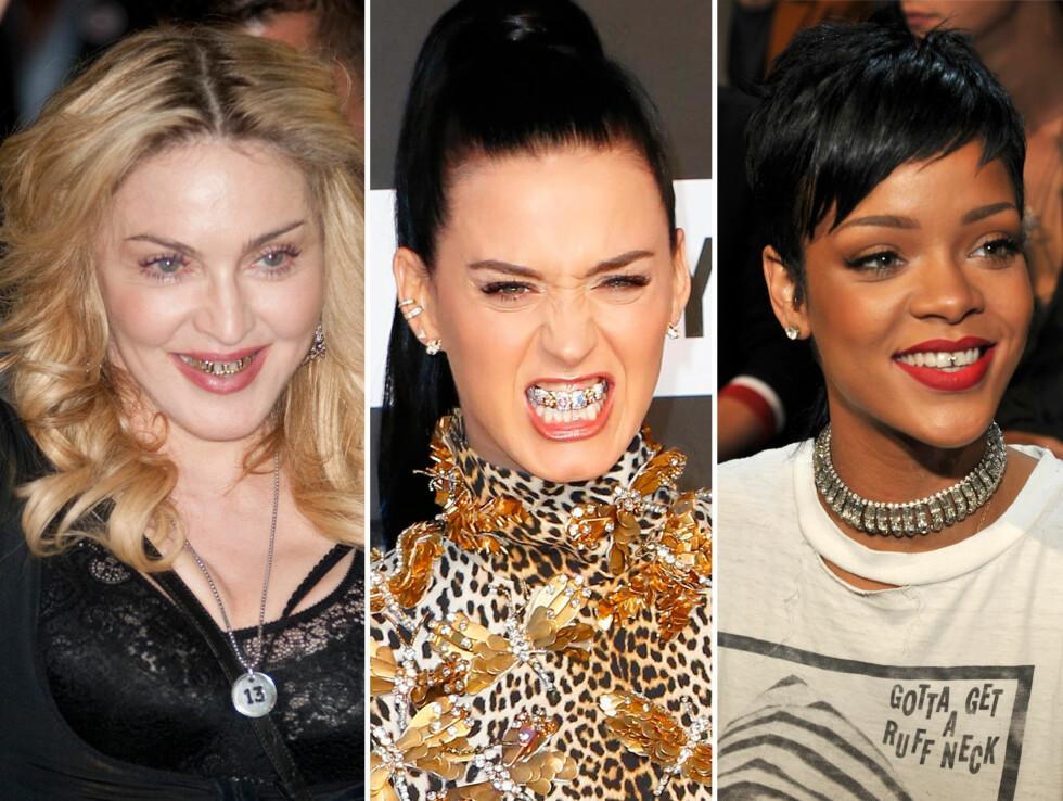 BLING I MUNNEN: Madonna, Katy Perry og Rihanna er blant stjernene som kastet seg på trenden med grills.