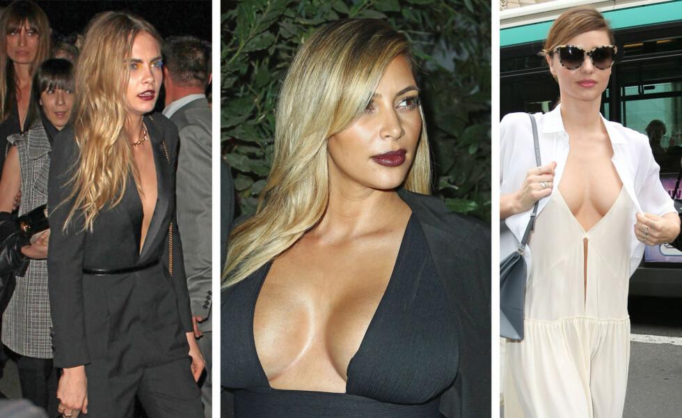 EKSTREMKLØFT: Supermodell Cara Delevingne, Kim Kardashian og Miranda Kerr. Foto: All Over Press