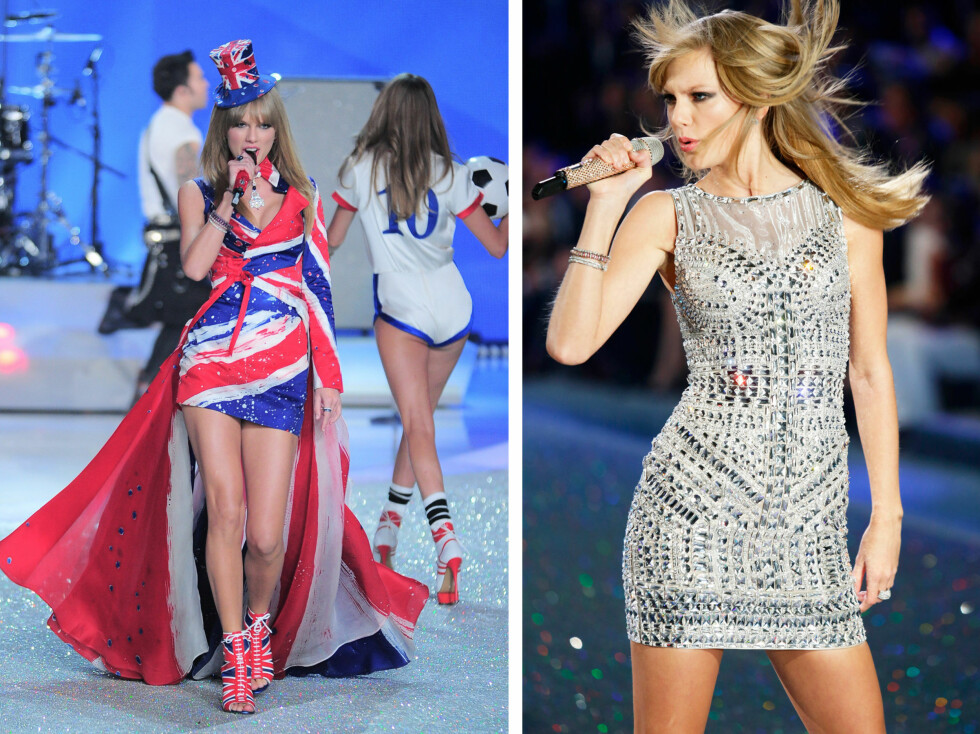 EN HYLLEST TIL STORBRITANNIA: Taylor Swift hadde æren av å opptrå på det spektakulære showet - ikledd Union Jack-kostyme.  Foto: All Over Press