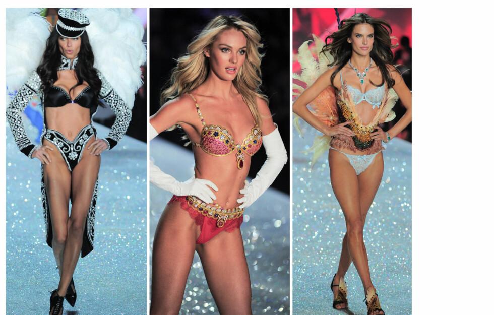 VERDENS MEST SEXY SHOW: Victoria's Secret-showet er kjent som verdens mest sexy undertøysshow, og trekker til seg verdens største supermodeller og artister. Candice Swanepoel (i midten) stilte i en bh til 64 millioner kroner! Foto: All Over Press