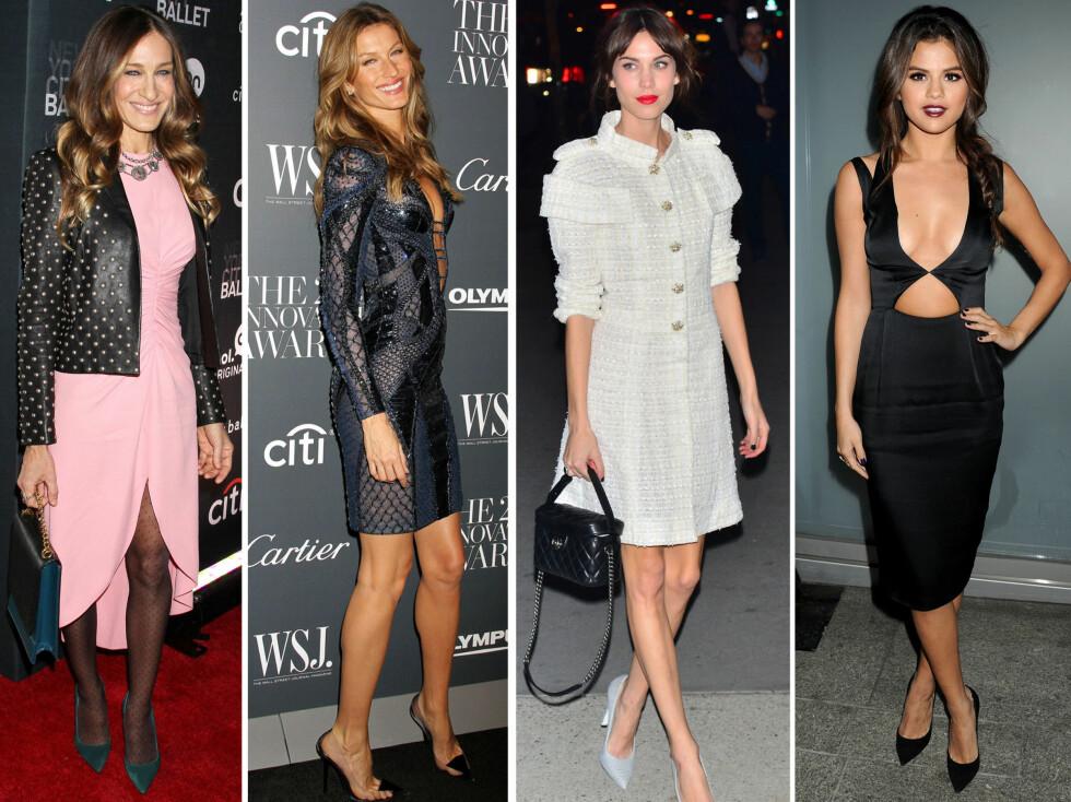 <strong>I SPISSE HOTTE PUMPS:</strong> Fra venstre Sarah Jessica Parker, Gisele Bundchen, Alexa Chung og Selena Gomez. Foto: All Over Press