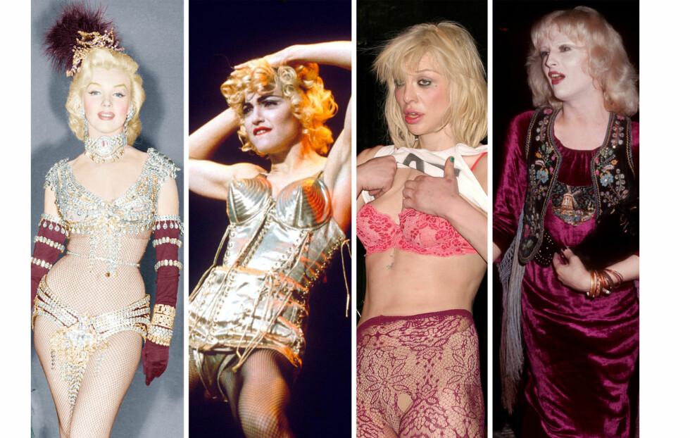 VEKKET OPPSIKT: Her er noen av damene som skapte (noen av dem skaper fortsatt) overskrifter før artister som Rihanna og Miley Cyrus slo gjennom. Fra venstre - Marilyn Monroe, Madonna, Courtney Love og Candy Darling.  Foto: All Over Press