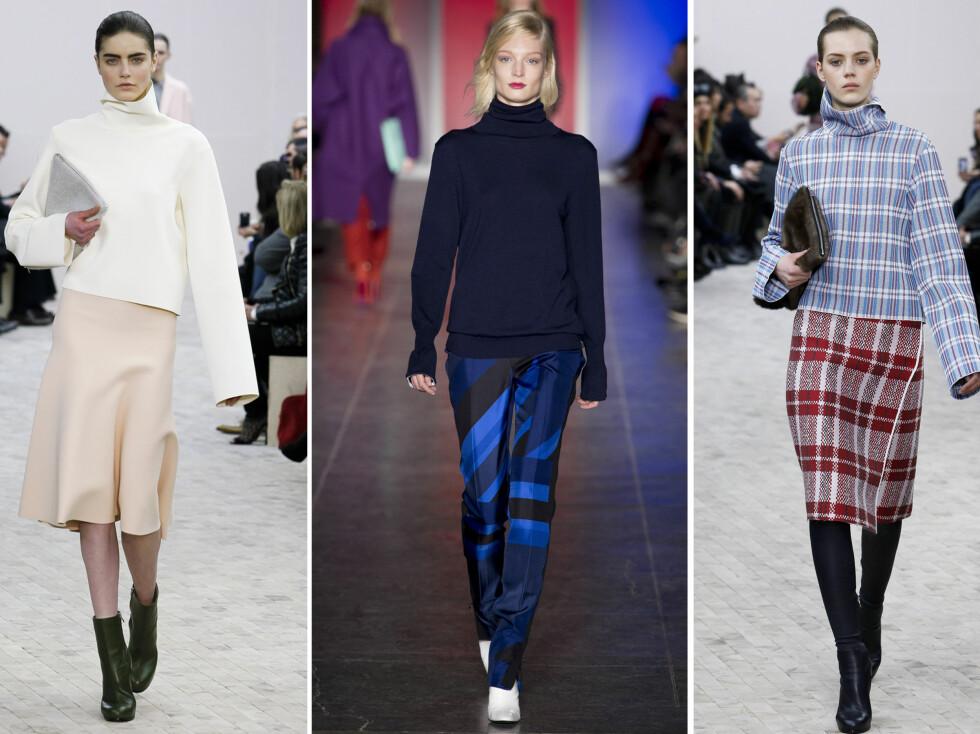 LØS ELLER STRAM HALS VARIERER: Hos Celine er genseren kort og skulpturell, mens Paul Smith går for en klassisk blå variant. Foto: All Over Press
