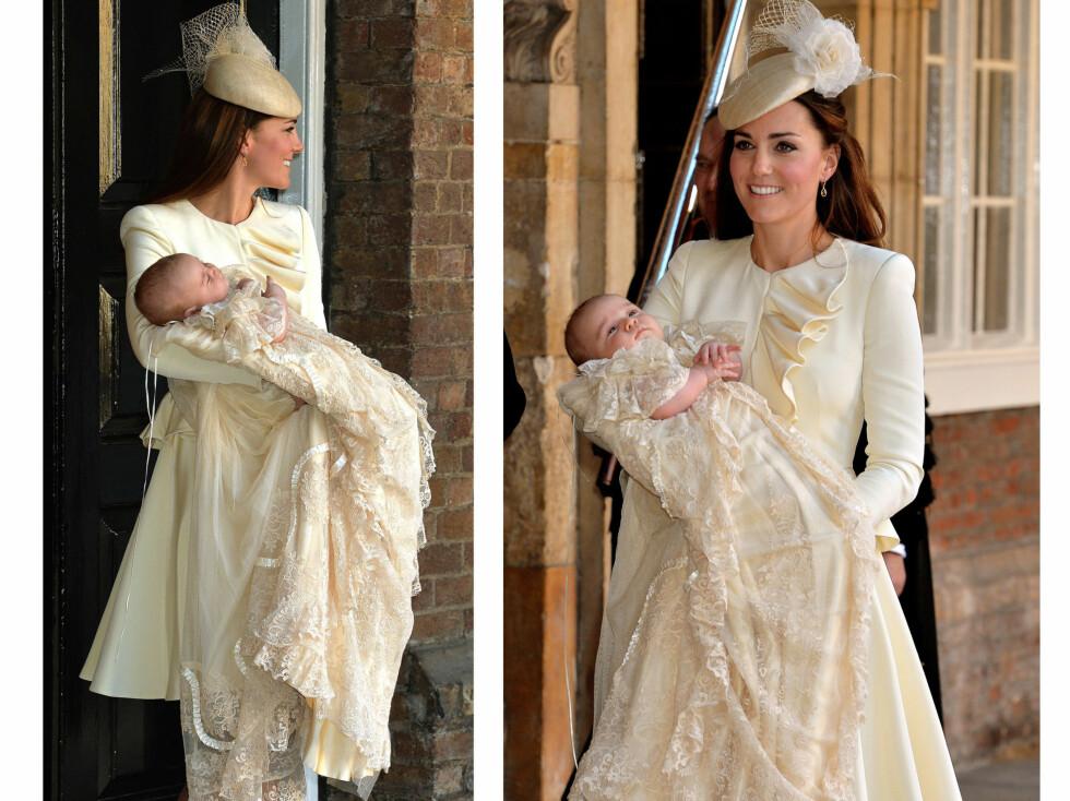 I KJOLE FRA ALEXANDER MCQUEEN: Kate Middleton gikk for en lekker drakt signert den samme designeren som laget brudekjolen hennes. Jakken vil også bli lekker  til et par jeans og pumps. Foto: All Over Press