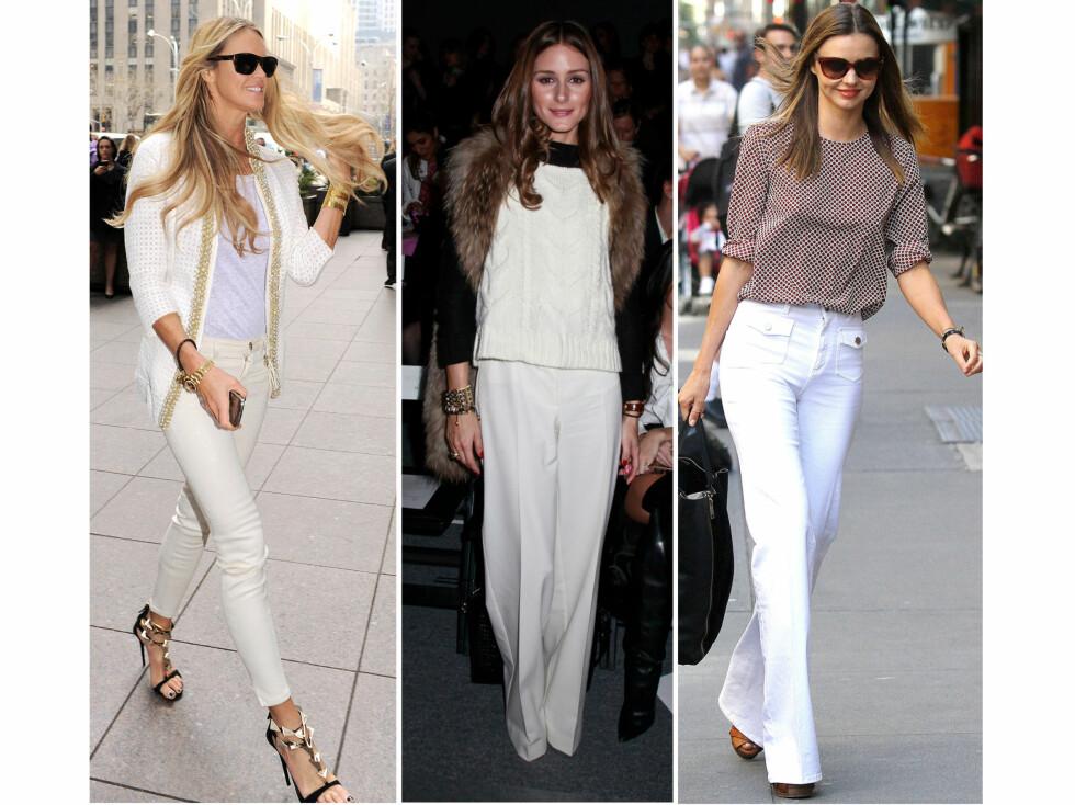 KULE I HVITT: Elle MacPherson, Olivia Palermo og Miranda Kerr kan det å kle seg i hvitt. Kollage: Nadine Monroe. Foto: All Over Press