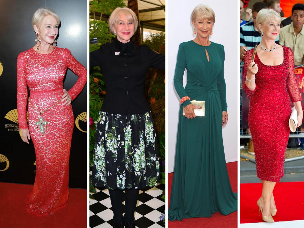 STILIG DAME: Helen Mirren holder seg svært godt for alderen og har en klassisk, elegant stil.  Foto: All Over Press