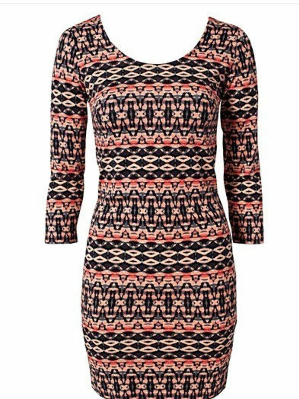 Mønstret tettsittende kjole fra Vero Moda. 229 kroner, Nelly.com.  Foto: Produsenten