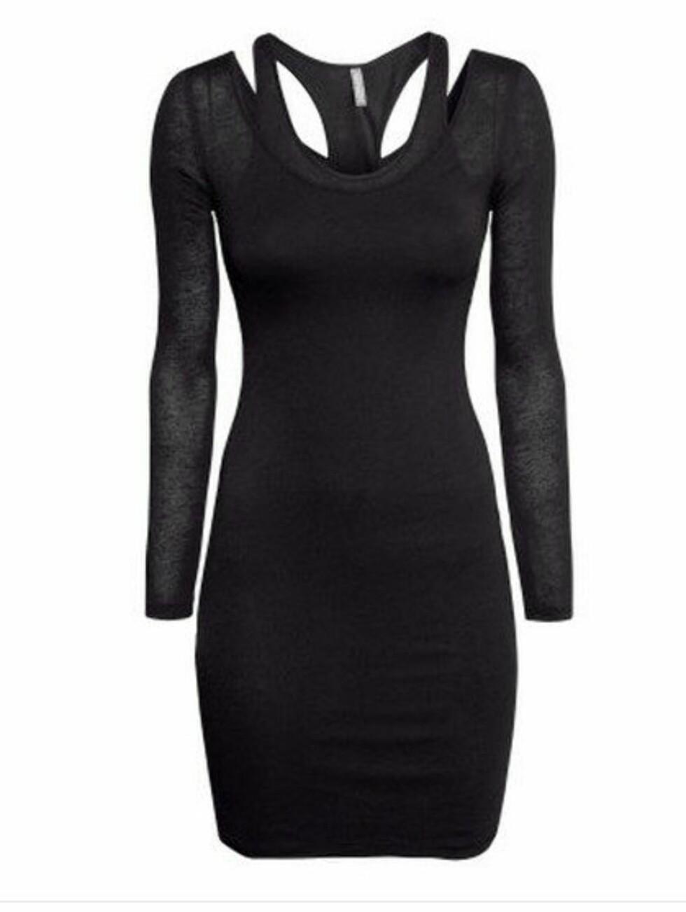 Svart kjole med lekkert utsnitt i ryggen. 199 kroner, Hm.com.  Foto: Produsenten