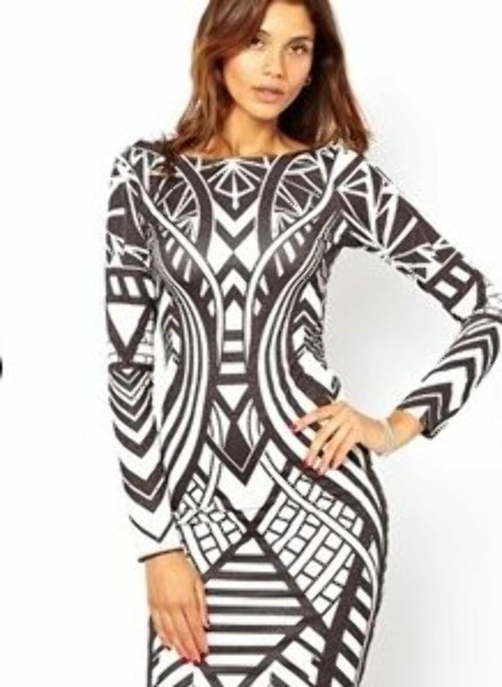 Tettsittende mønstret kjole fra Lipsy. 511 kroner, Asos.com. Foto: Produsenten