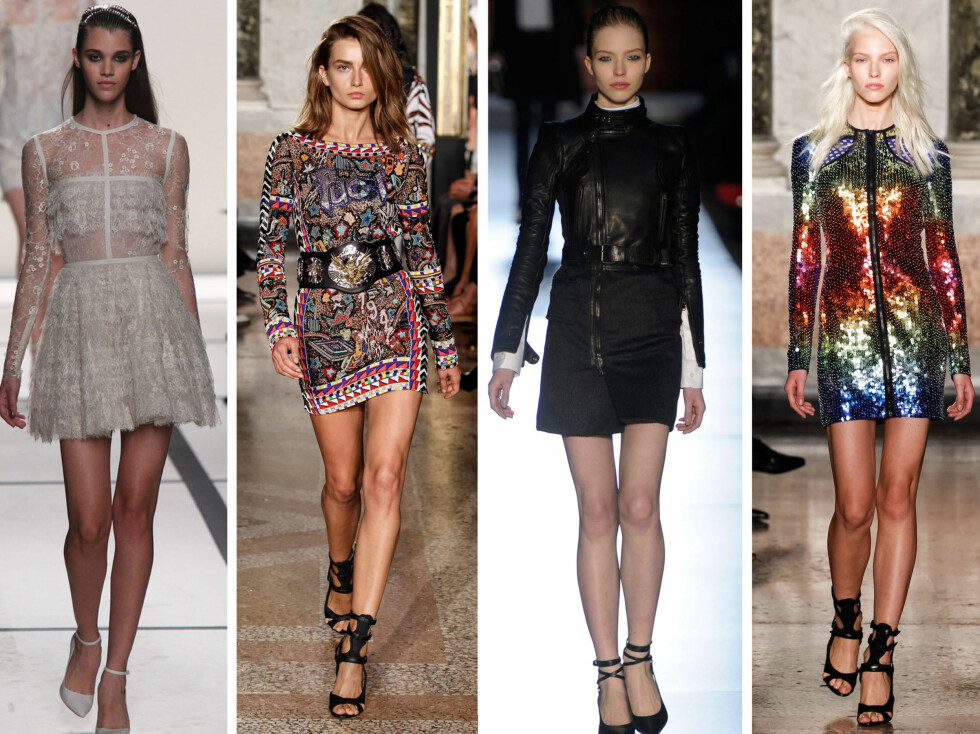 PÅ CATWALKEN: Minikjoler med lange ermer sett hos Elie Saab, Pucci, Diesel Black Gold og Pucci.  Foto: All Over Press