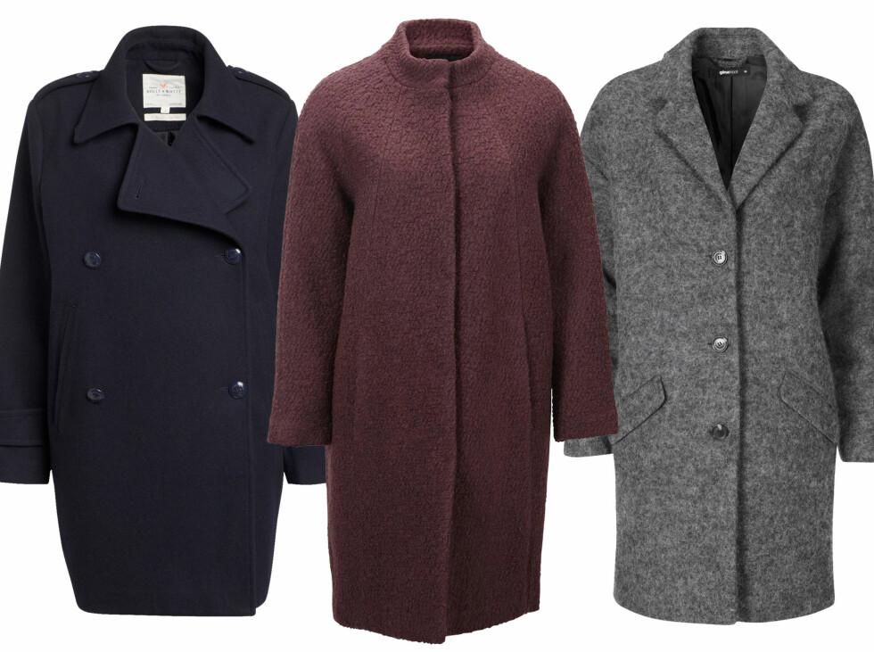 OVERSIZED: Mørkeblå (kr 1000, Lindex), burgunderfarget (kr 800, Selected Femme) og grå (kr 800, Gina Tricot). Foto: Produsentene