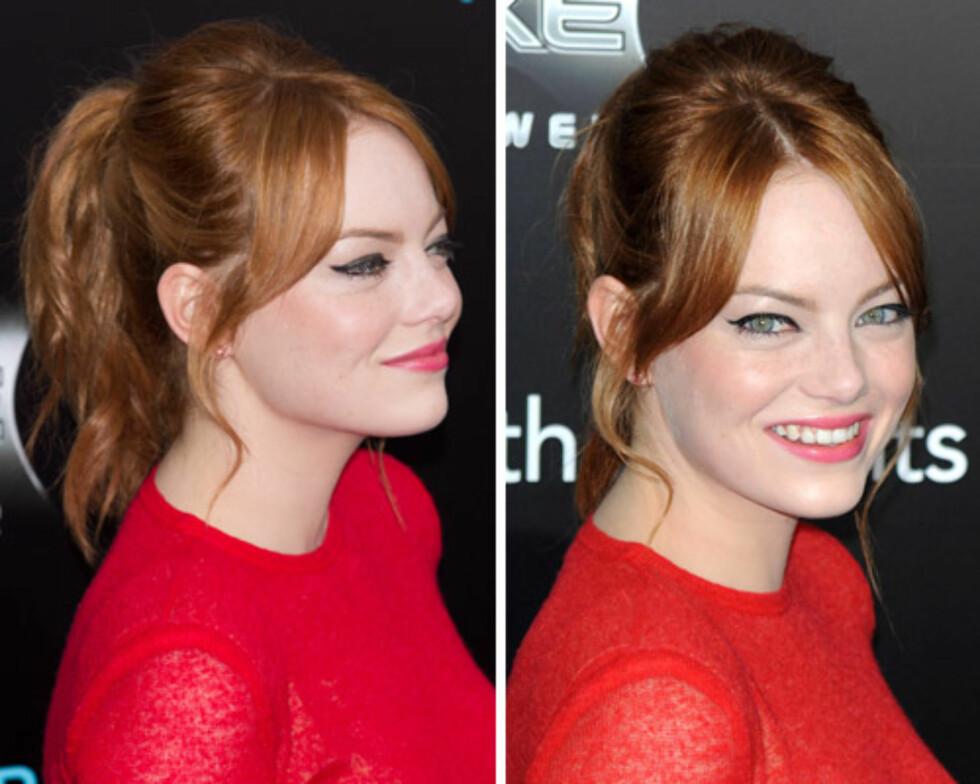RØDTOPP: Emma Stone elsker det røde håret sitt, og er slettes ikke redd for å kombinere det med en rød kjole og knallfarget leppestift. Heia farger! Foto: All Over Press