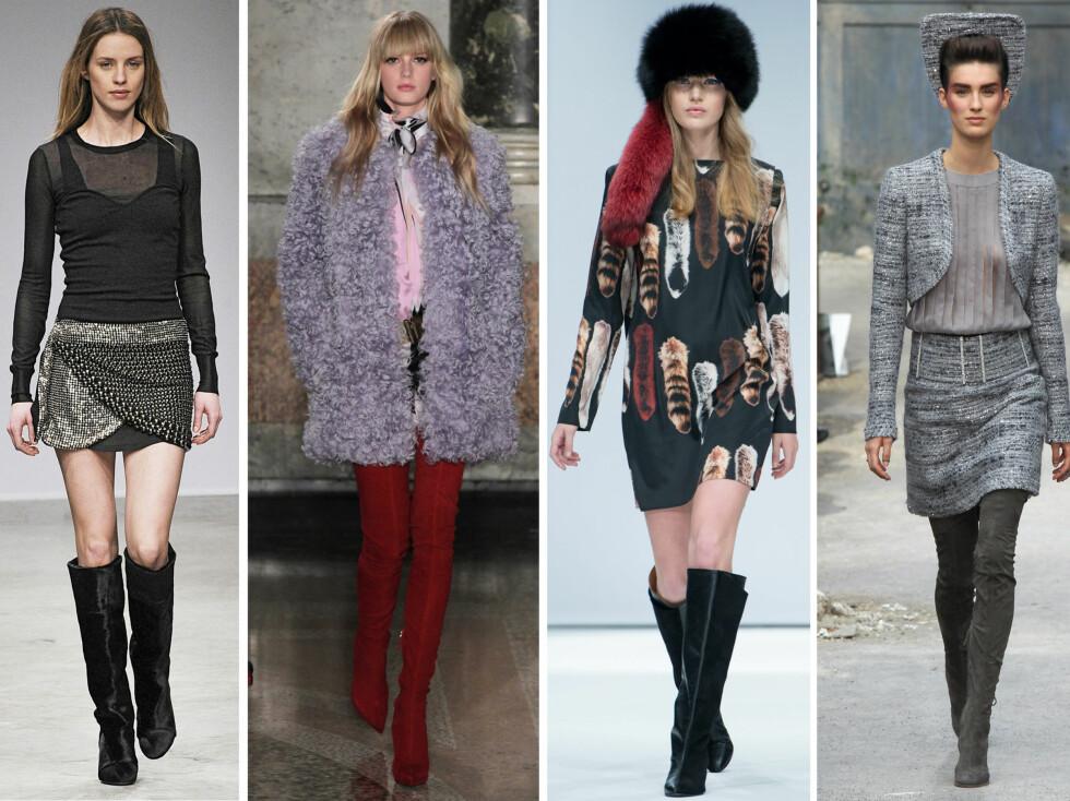HØSTENS IT-BOOTS: Isabel Marant, Emilio Pucci, Marni og Chanel går alle for høye støvletter i høst. Lengden og passformen varierer, men alle er enige om at skjørt og kjoler er en supersexy match. Foto: All Over Press