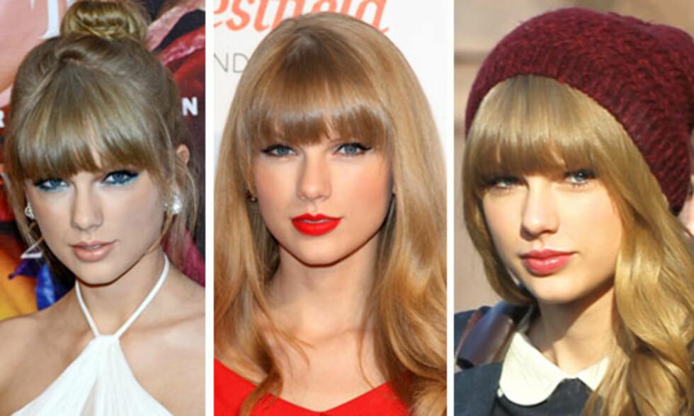 LANG OG RETT: Taylor Swift har veldig ofte tung, rett lugg, og hun ser ut til å foretrekke at den når nesten helt ned til øyevippene.  Foto: All Over Press