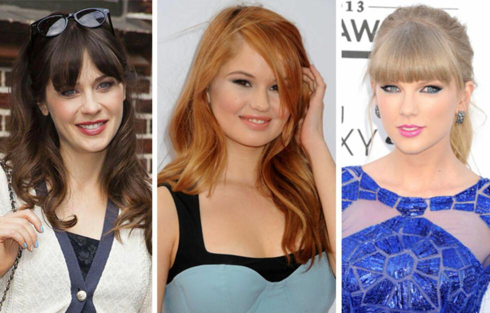 EFFEKTFULLT OG VAKKERT: Zooey Deschanel, Debby Ryan og Taylor Swift elsker alle pannelugg, men går for helt ulike varianter.  Foto: All Over Press